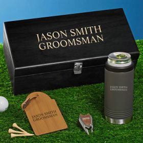 Personalized Gunmetal Can Cooler Golf Gifts for Men