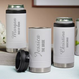 Lassarre Set of 3 Custom White Can Coolers Bridal Party Gifts