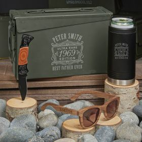 Ultra Rare Engraved 30 Cal Ammo Can Gift Set for Men Black Can Cooler Set