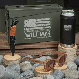 American Heroes Personalized Military Gifts .30 Cal Black Cooler Set
