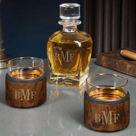 Classic Monogram Engraved Whiskey Decanter Set with Kuzies