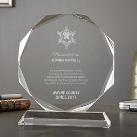 Small Personalized Crystal Octagon Sheriff Award