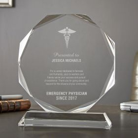 Medium Custom Crystal Octagon EMT Award