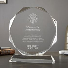 Large Personalized Crystal Octagon Firefighter of the Year Award