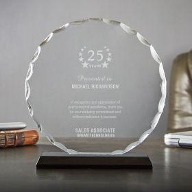 Large Round Facet Custom Service Award