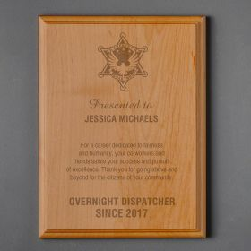 Small Red Alder Personalized Sheriff Plaque
