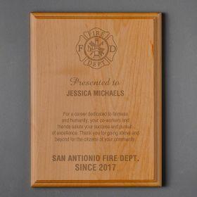 Large Red Alder Custom Firefighter Plaque