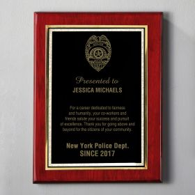 Small Rosewood Personalized Police Plaque