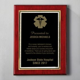 Large Rosewood Engraved EMS Plaque