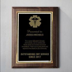 Medium Walnut Engraved EMT Plaque