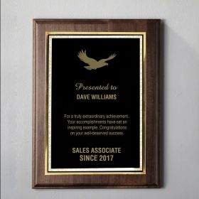 Large Walnut Engraved Plaque