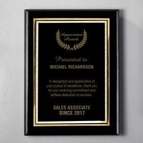 Small Black Custom Award Plaque