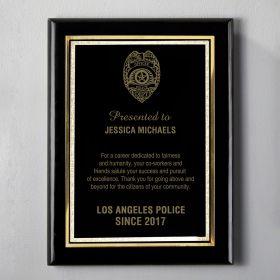 Small Black Custom Police Appreciation Plaque