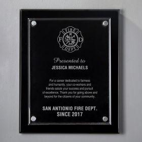 Small Black Floating Acrylic Custom Firefighter Plaque