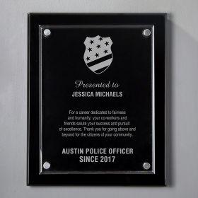 Medium Black Floating Acrylic Personalized Police Plaque