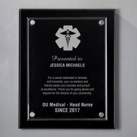 Large Black Floating Acrylic Engraved Nurse Plaque