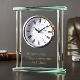 Square Glass Engraved Desk Clock