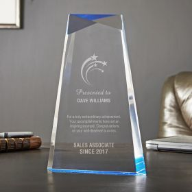 Small Blue Facet Personalized Achievement Award