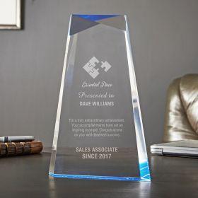 Large Blue Facet Engraved Recognition Award