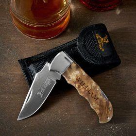 Engraved Pocket Knife with Burl Wood Handle