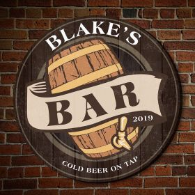 Old Fashioned Beer Barrel Custom Wooden Bar Sign