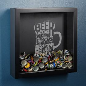 Beer is the Solution Bottle Cap Shadow Box