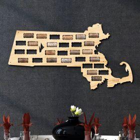 Massachusetts Wine Cork Map