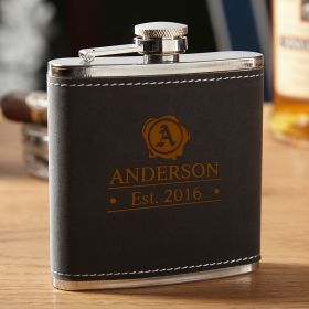 Hawthorne Wax Seal Engraved Hip Flask