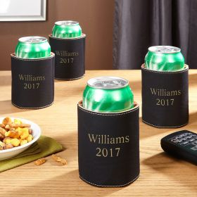 Custom Charcoal Faux Leather Beer Koozie, Set of 4