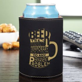 Beer is the Solution Charcoal Leatherette Can Holder