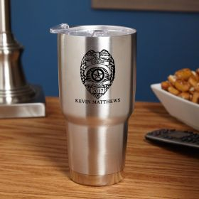 Police Badge Personalized Insulated Travel Mug