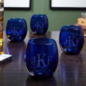 Classic Monogram Engraved Cocktail Glasses, Cobalt