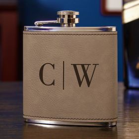 Quinton Leatherette Wrapped Hip Flask, Gravelstone