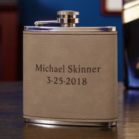 Gravelstone Personalized Leatherette Hip Flask
