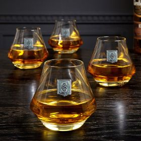 DiMera Regal Crested Whiskey Glasses, Set of 4