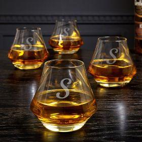 DiMera Engraved Whiskey Glasses Set of 4