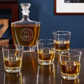 Scales of Justice Liquor Decanter Set for Lawyers