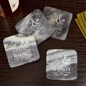 Matisse Personalized Marble Coasters, Set of 4