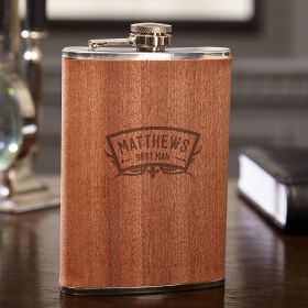 Wedding Party Engraved 8 oz Flask with Natural Wood