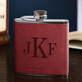 Classic Monogram Personalized Red Flask