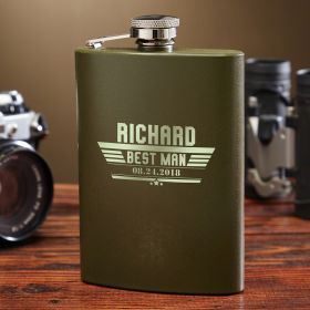 Maverick Personalized Green Military Flask