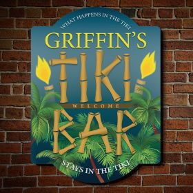 Island Nights Personalized Tiki Bar Sign