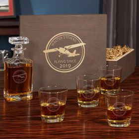 Aviator Personalized Decanter Set and Glasses