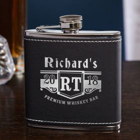 Bedingfeld Monogram Black & Silver Personalized Hip Flask