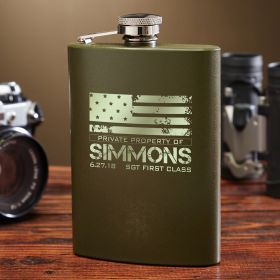American Heroes Custom Green Military Flask