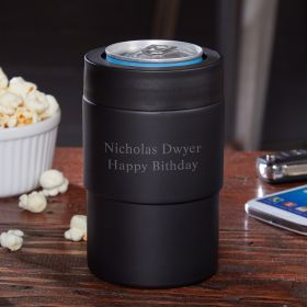 Personalized Double-Wall Black Beer Can Cooler