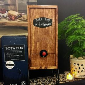 Wine Nook Wooden Box Wine Holder with Attached Stand