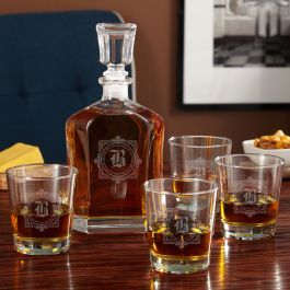 winchester decanter set with custom whiskey glasses. Black Bedroom Furniture Sets. Home Design Ideas