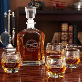 aviator engraved argos decanter set with uptown glasses. Black Bedroom Furniture Sets. Home Design Ideas