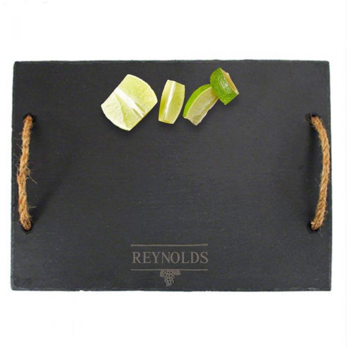 svelte slate cheese board with rope handles